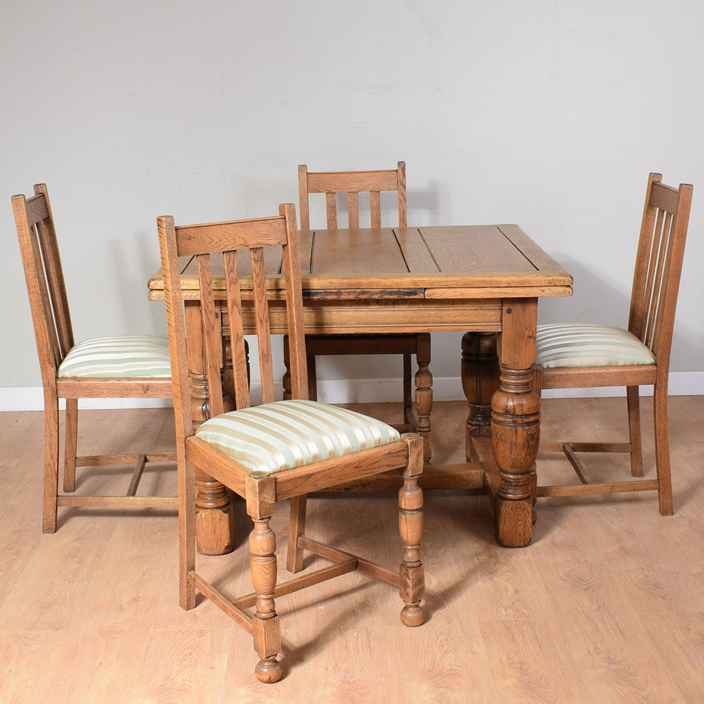 Vintage Oak Draw-Leaf Table And 4 Chairs