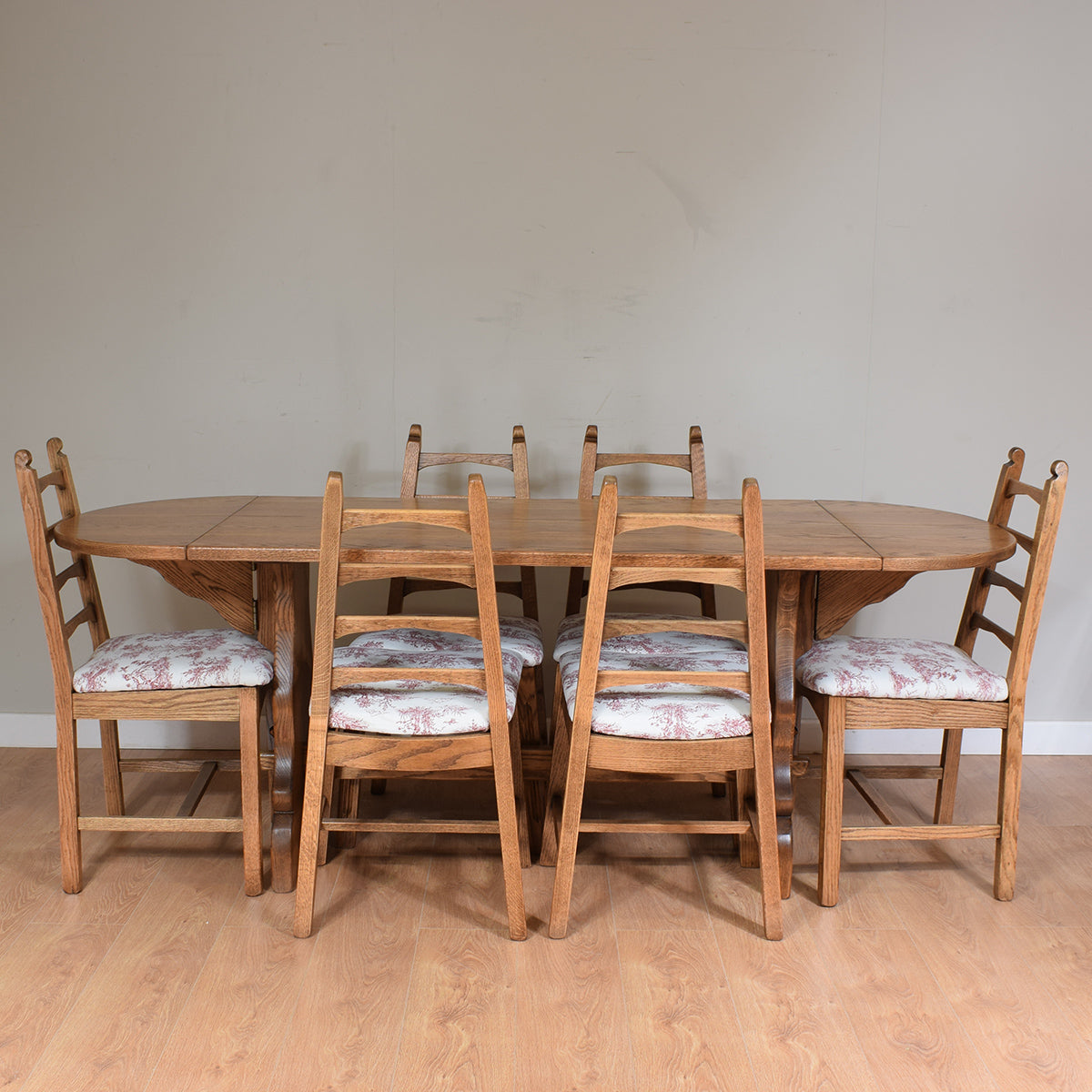 Solid Oak Drop-Leaf Table & 6 Chairs