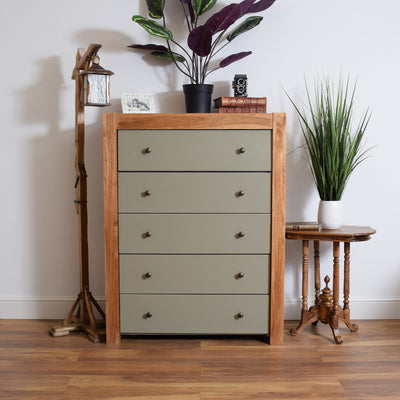 Large Painted Oak Chest Of Drawers