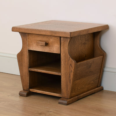 Dutch Oak Magazine Rack / Side Table
