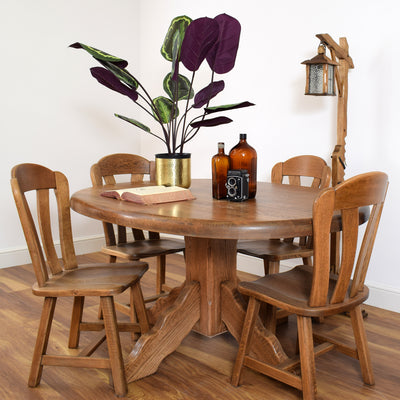 Dutch Oak Table & 4 Chairs