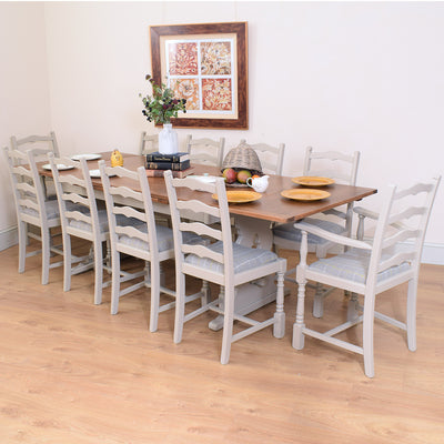 Painted Oak Table & Ten Chairs