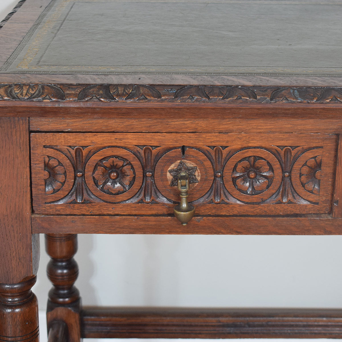 Antique Leather Top Table