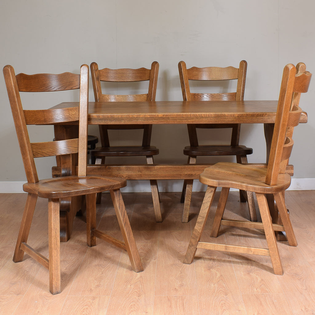 Dutch Oak Table and 4 Chairs