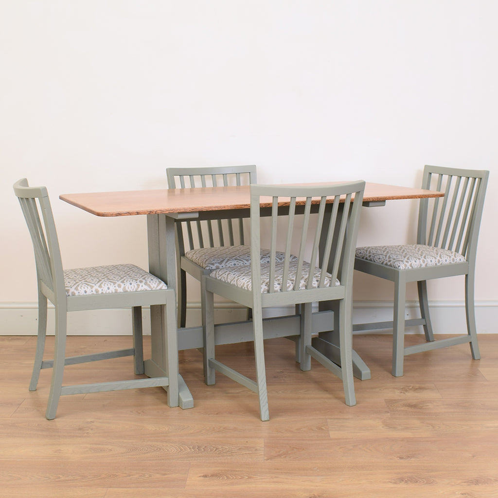 Painted Oak Refectory Table & 4 Chairs