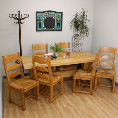 Heavy Farmhouse Dutch Oak Table & 6 Chairs