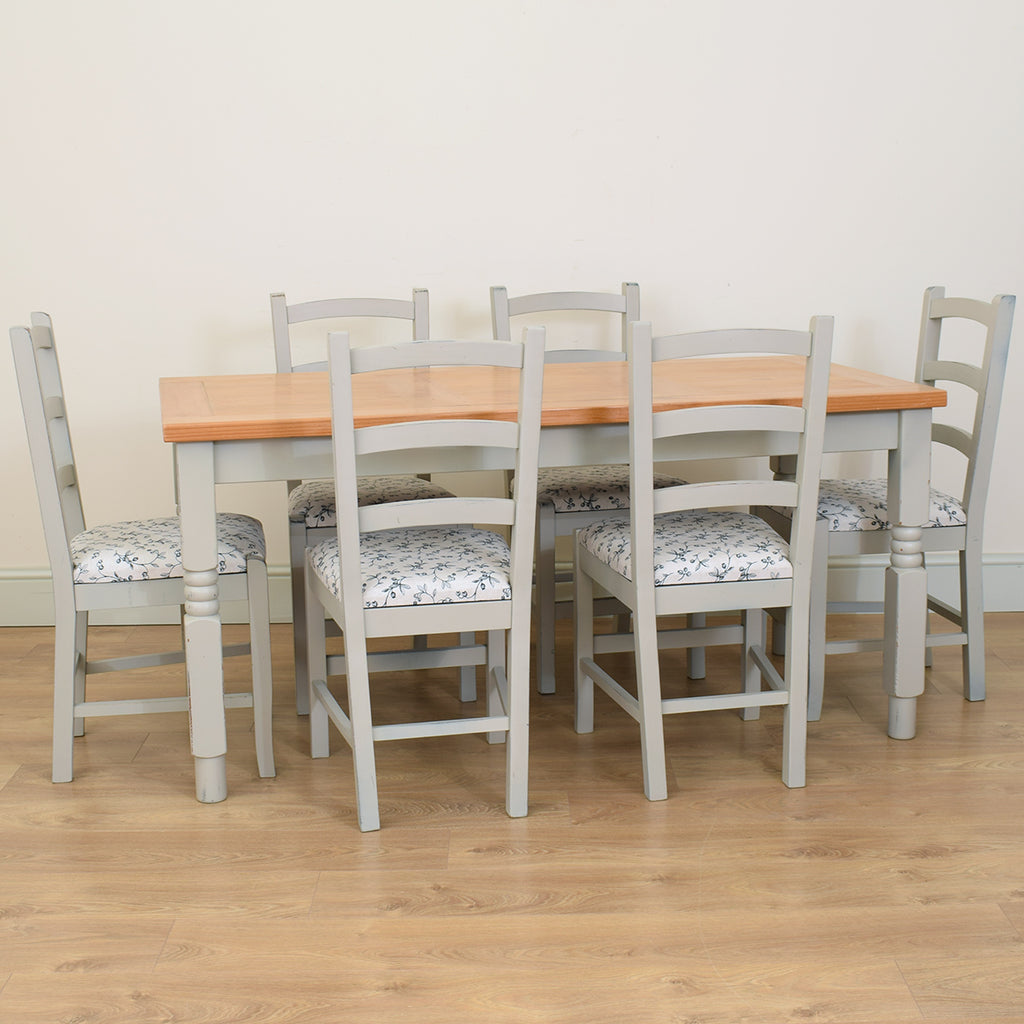 Rustic Painted Pine Table & 6 Chairs