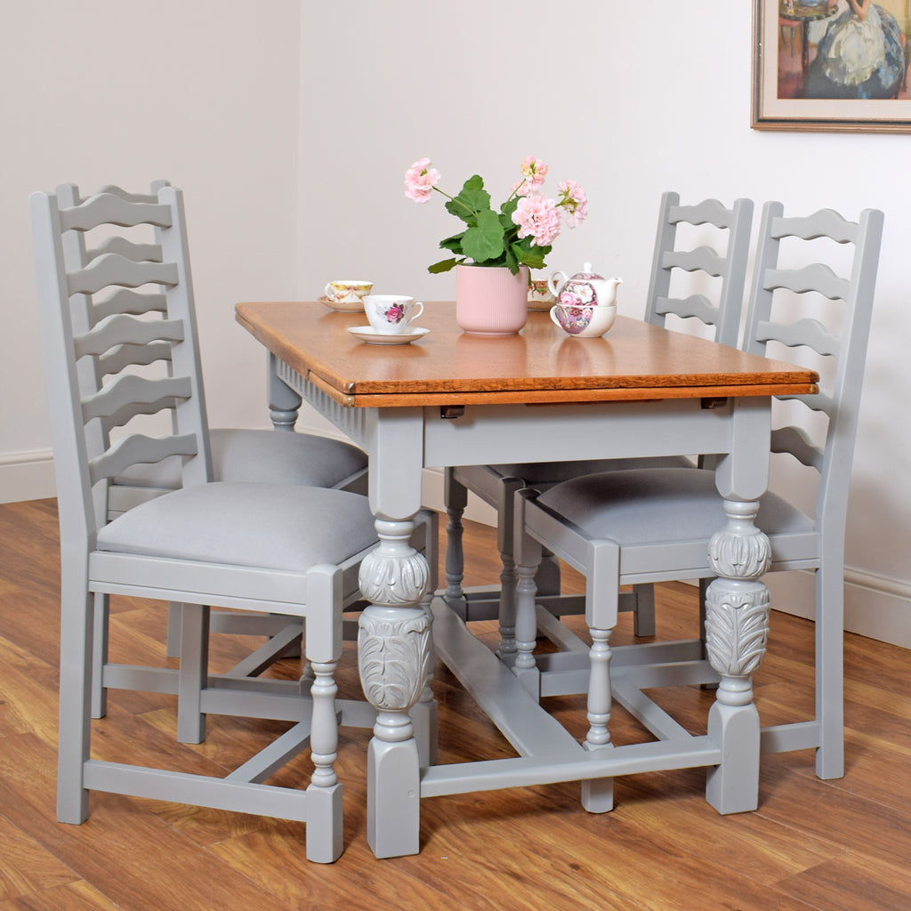 1930's Style Painted Draw- Leaf Table & 4 Chairs