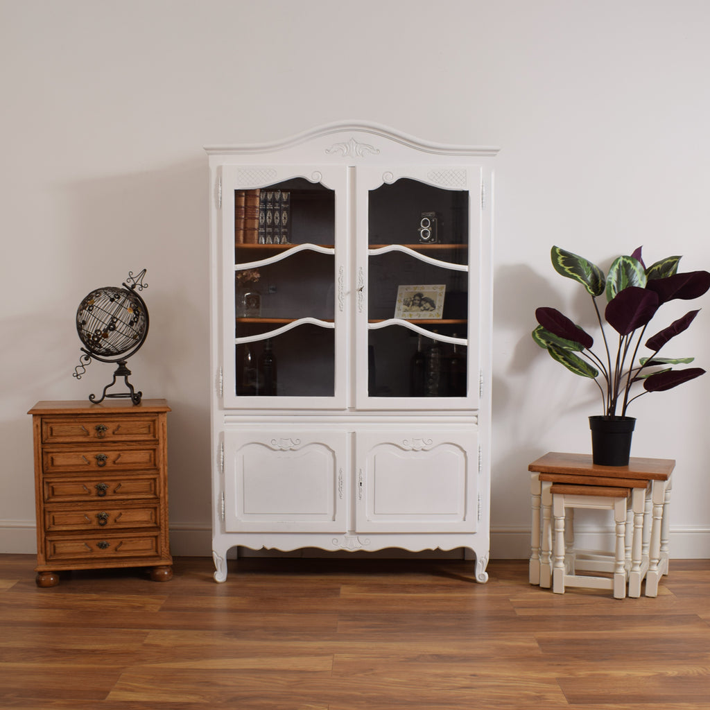 Painted French Glass Display Cabinet / Bookcase