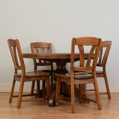 Round Oak Table and 4 Chairs