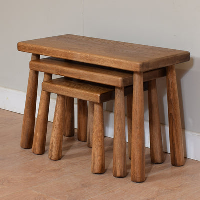 Rustic Solid Oak Nest Of 3 Tables