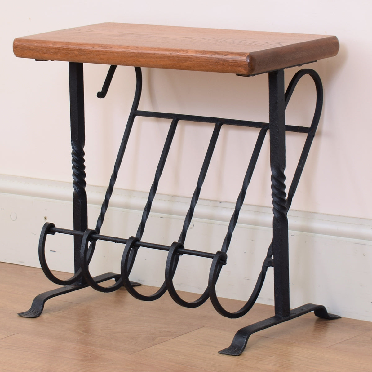 Oak and Iron Magazine Rack