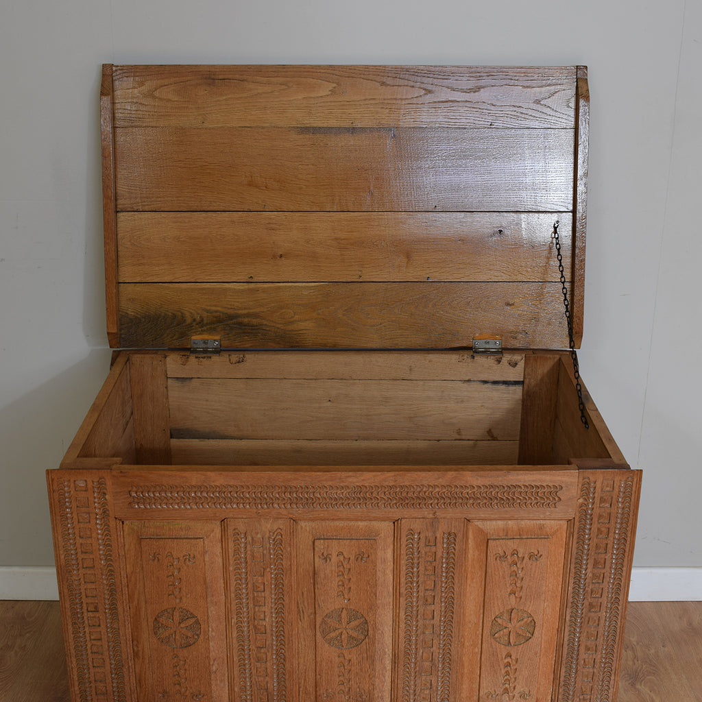 Vintage Oak Travel Chest / Blanket Box