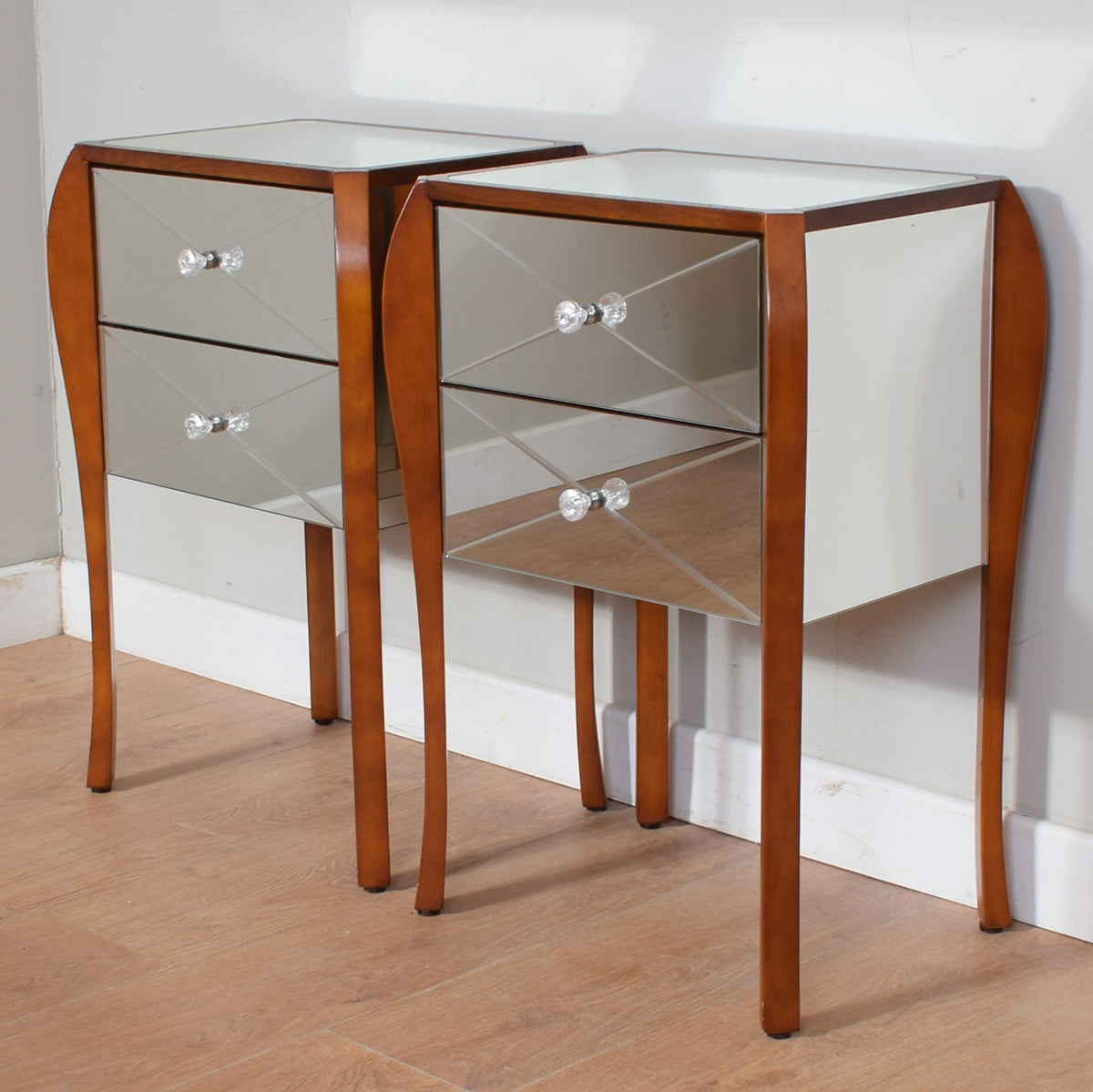 Pair of Mirrored Bedside Tables