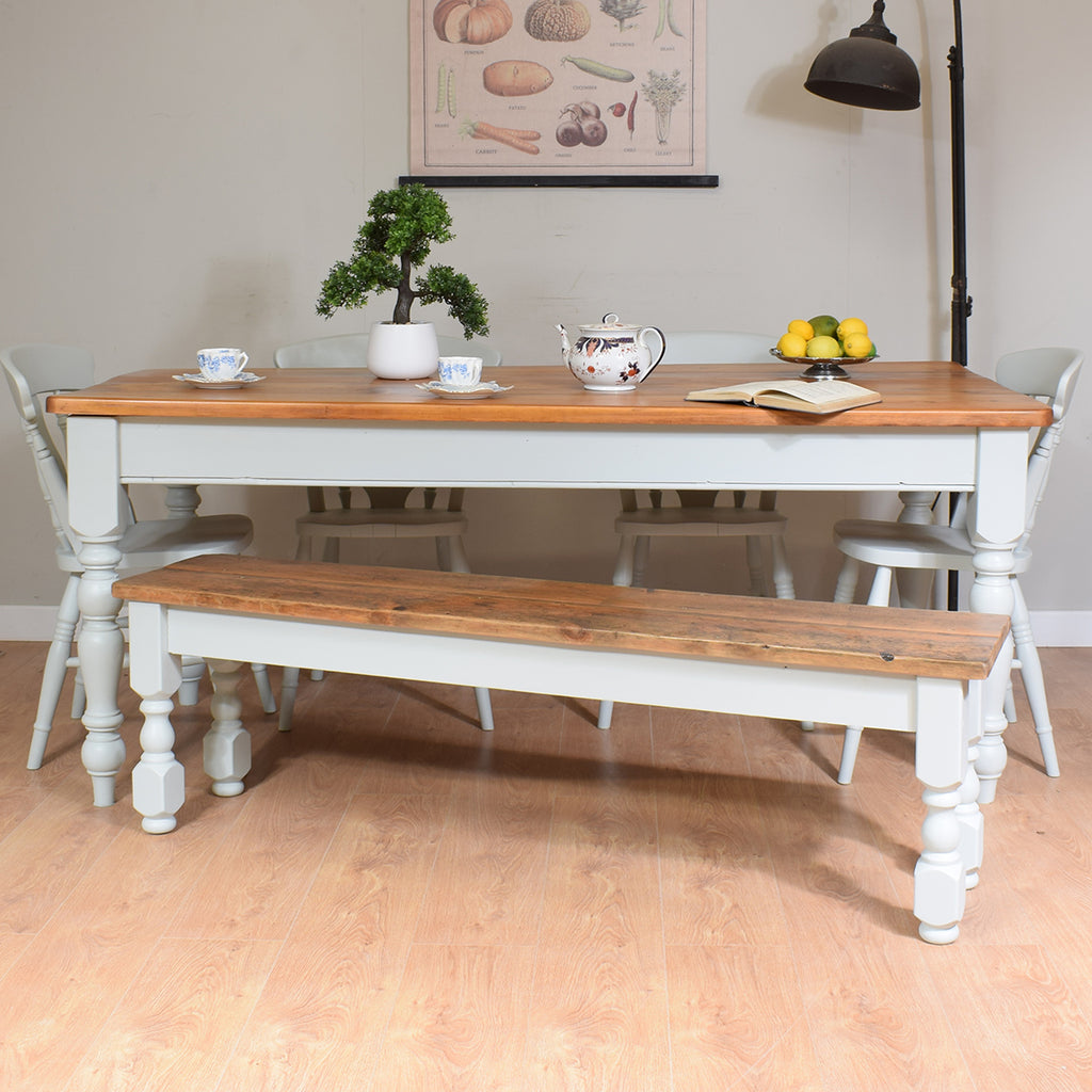 Farmhouse Pine Table & 4 Chairs & Bench