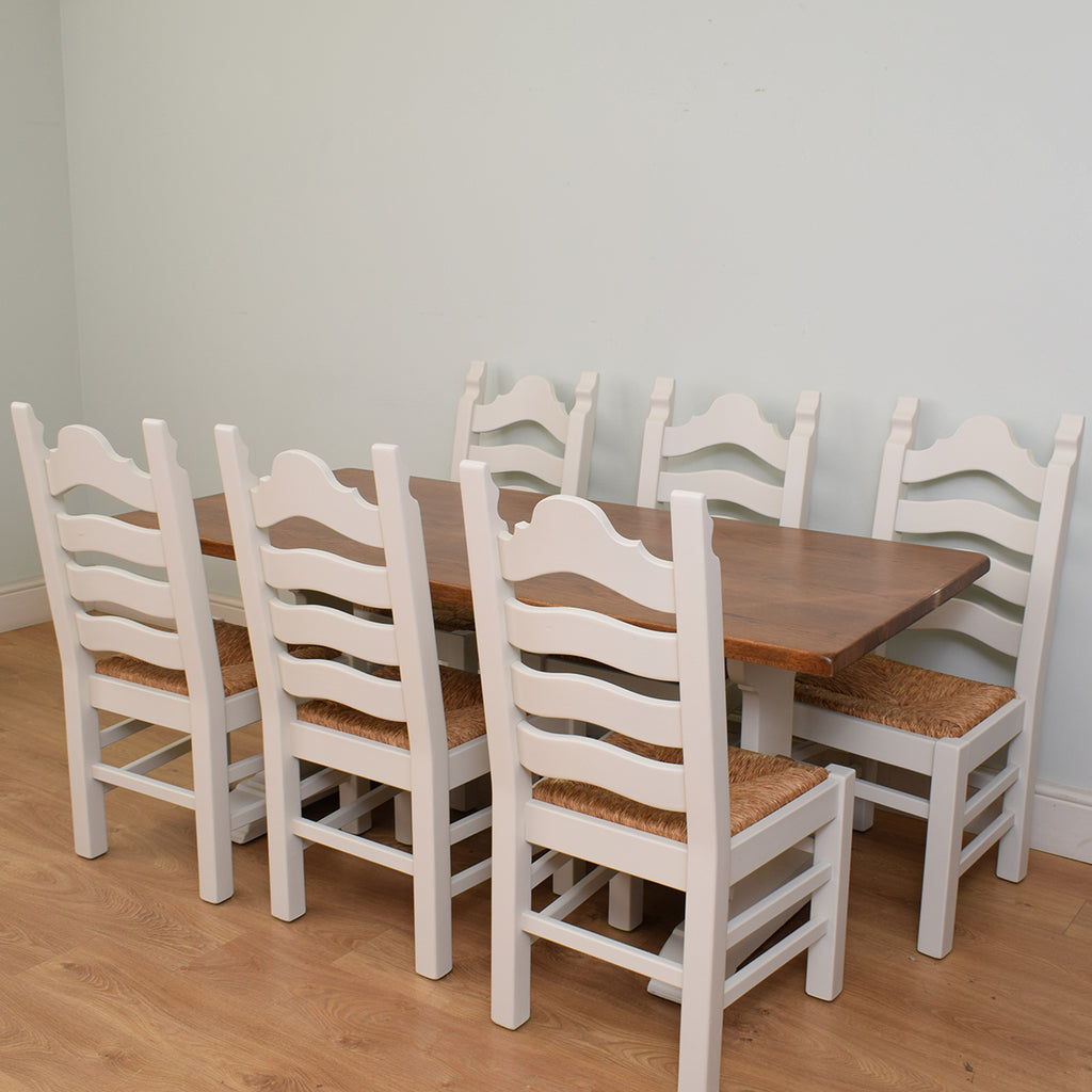 Painted Oak Table and 6 chairs