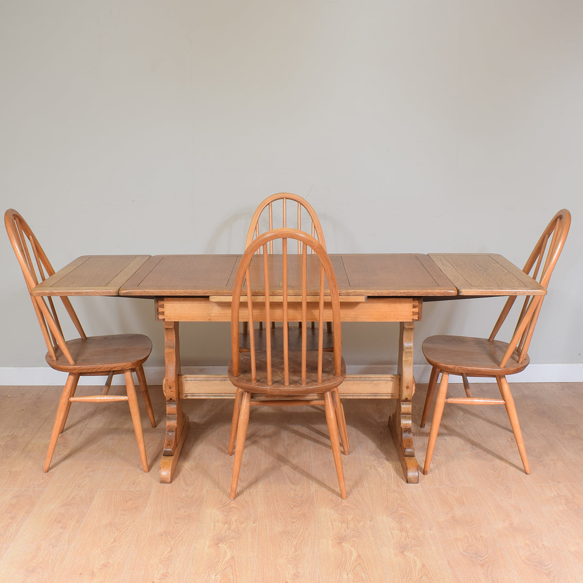 Restored Ercol Draw Leaf Table And 4 Chairs