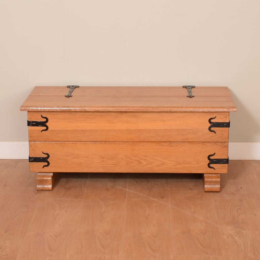 Solid Oak Farmhouse Style Ottoman / Blanket Box