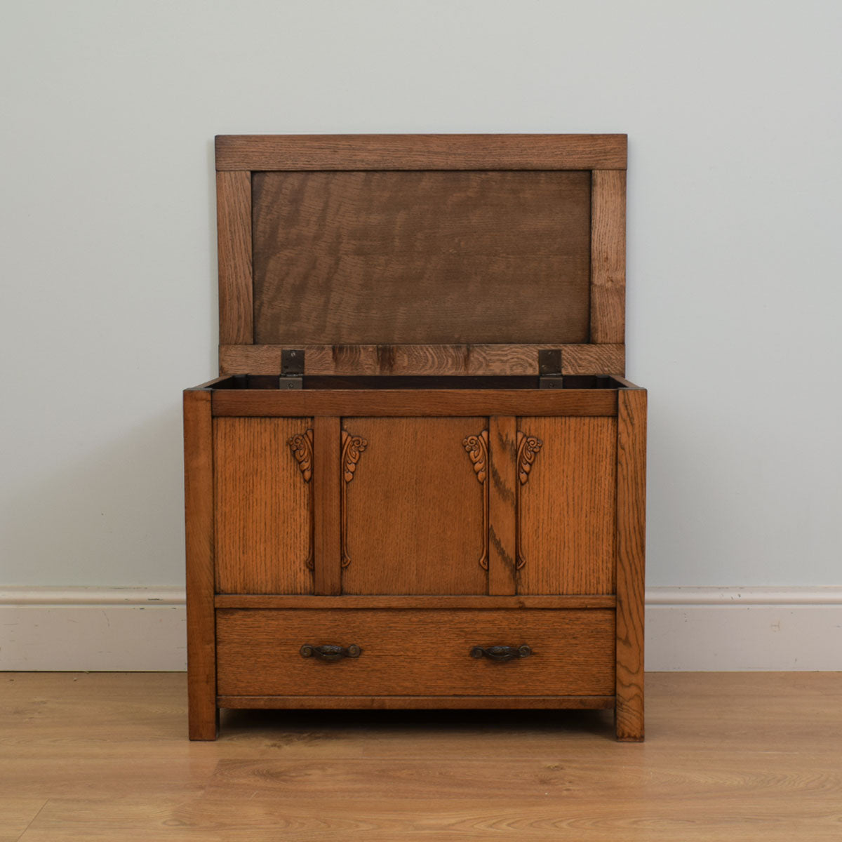 Carved Oak Mule Chest