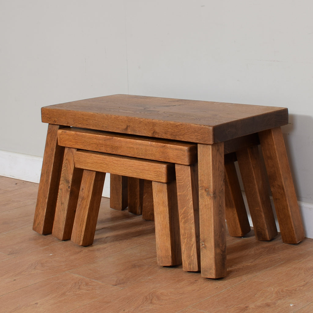 Solid Oak Nest Of 3 Tables