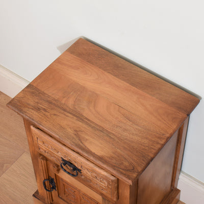 Mango Wood Carved Bedside Cabinet