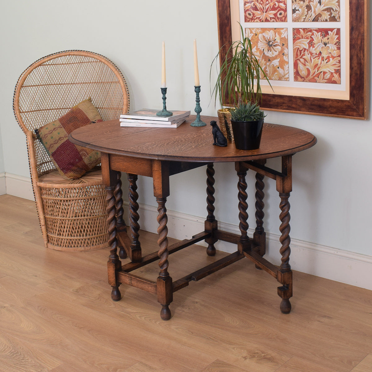 Oak Barley Twist Drop Leaf Table