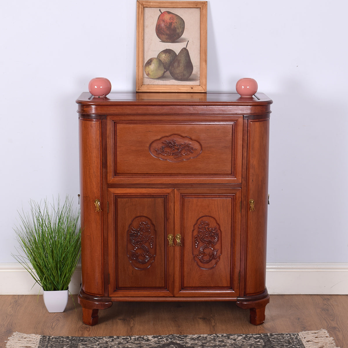 Oriental Carved Cocktail Cabinet