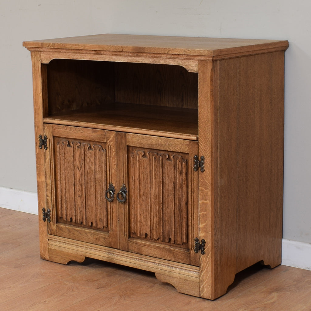 Traditional British Linen-Fold TV Cabinet