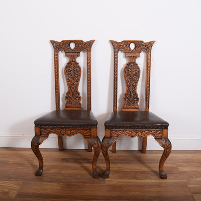 Carved Draw Leaf Table and 4 Chairs