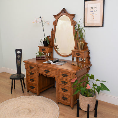 Oak And Walnut Dressing Table