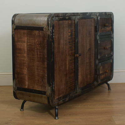 Mango & Steel Small Sideboard