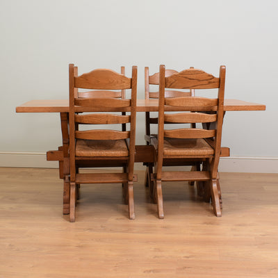 Rustic Oak Table & 4 Chairs