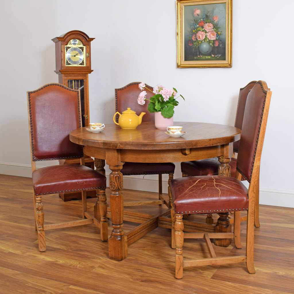 Round Oak Table & 4 Vintage Leather Chairs