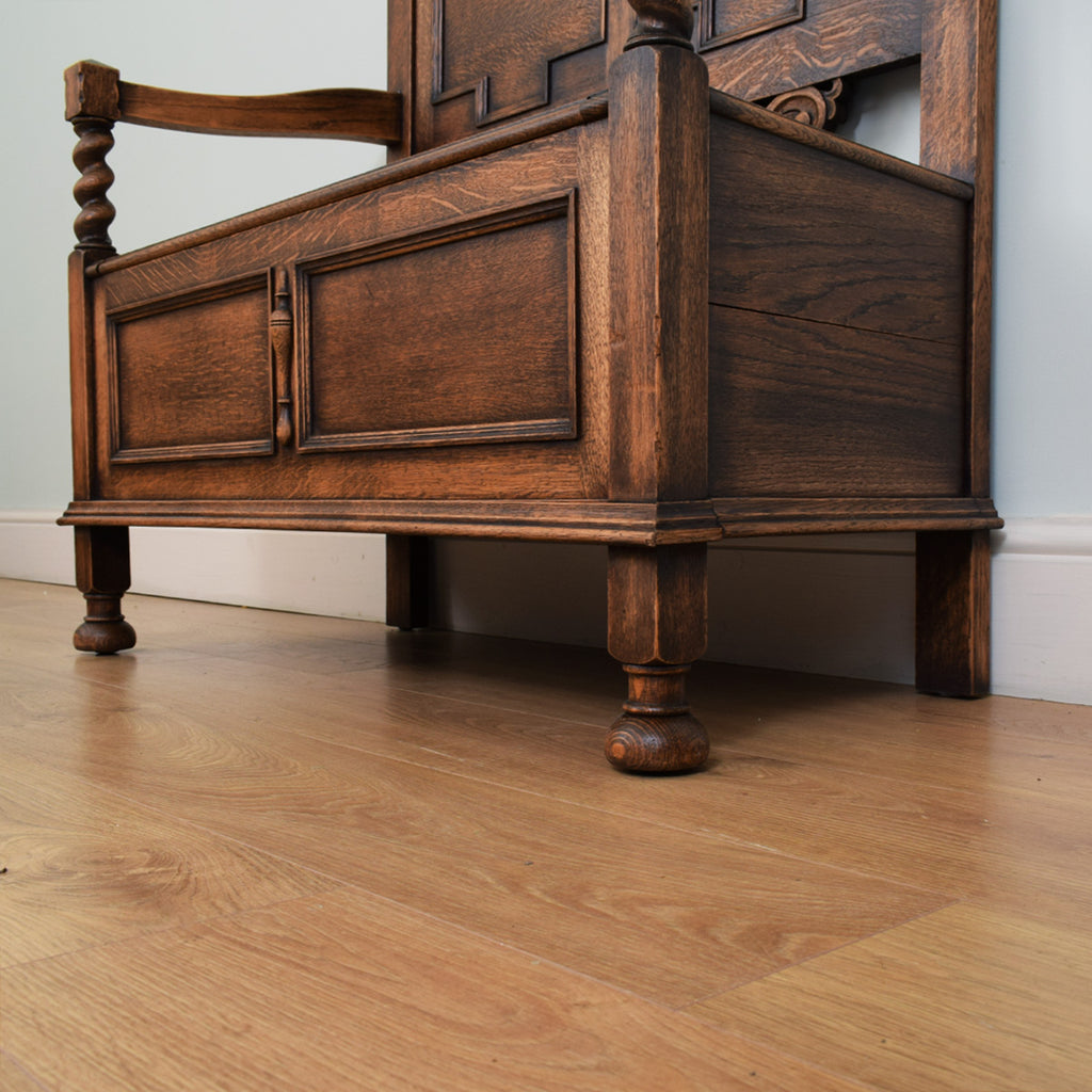 Antique Carved Oak Settle Bench