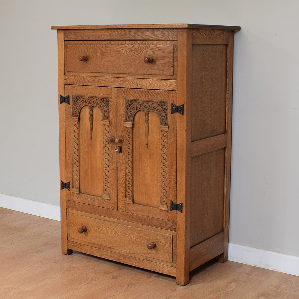 Vintage Rustic Oak Tallboy / Bedroom Cabinet