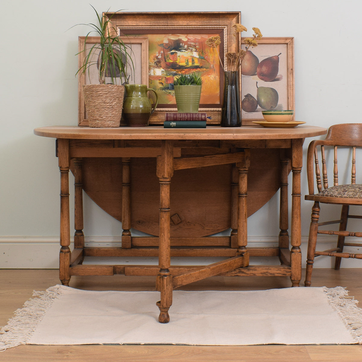 Large Oak Drop-Leaf Dining Table