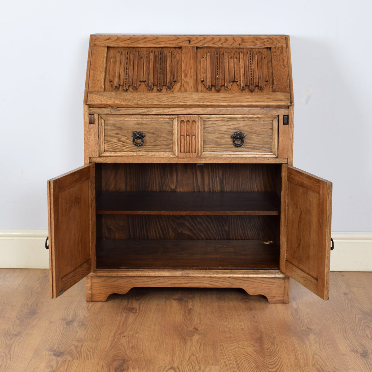 Beautifully Carved Oak Bureau