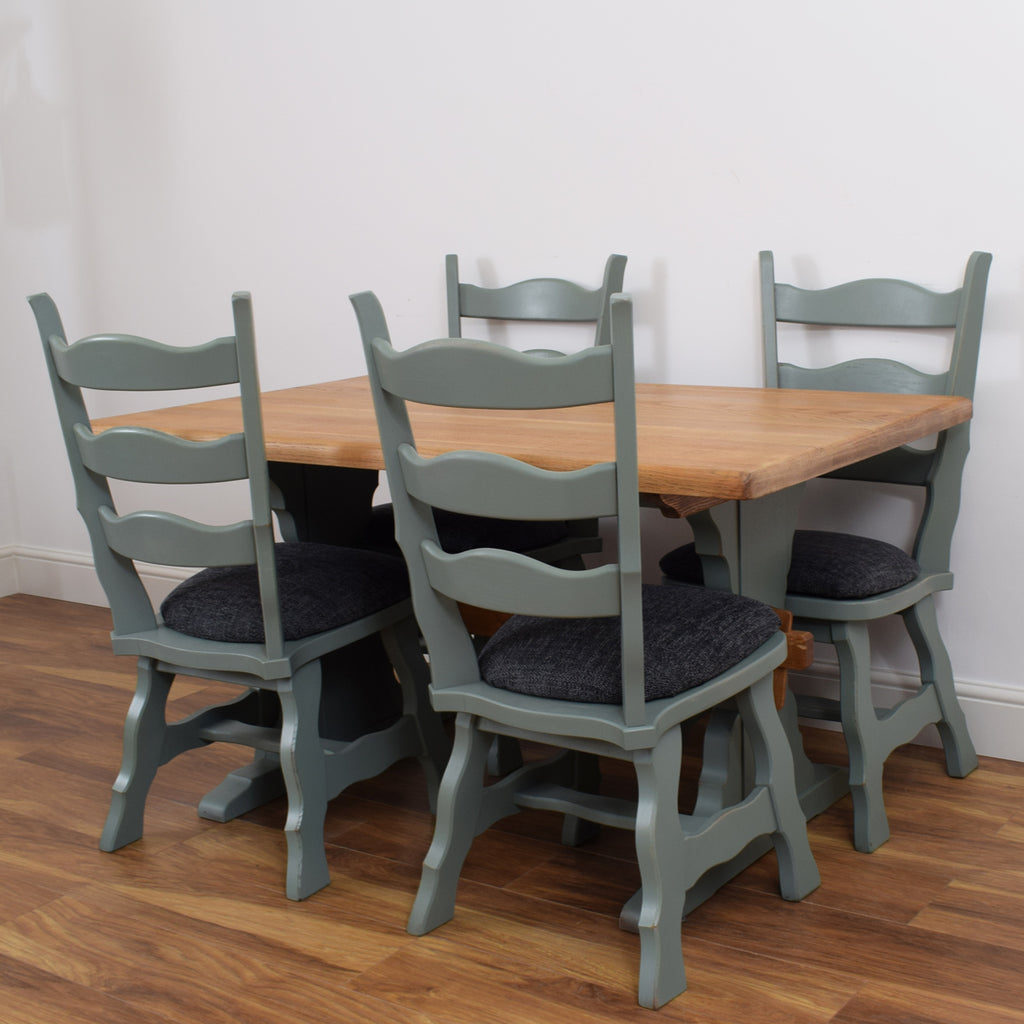 Painted Dutch Oak Refectory Table & 4 Chairs