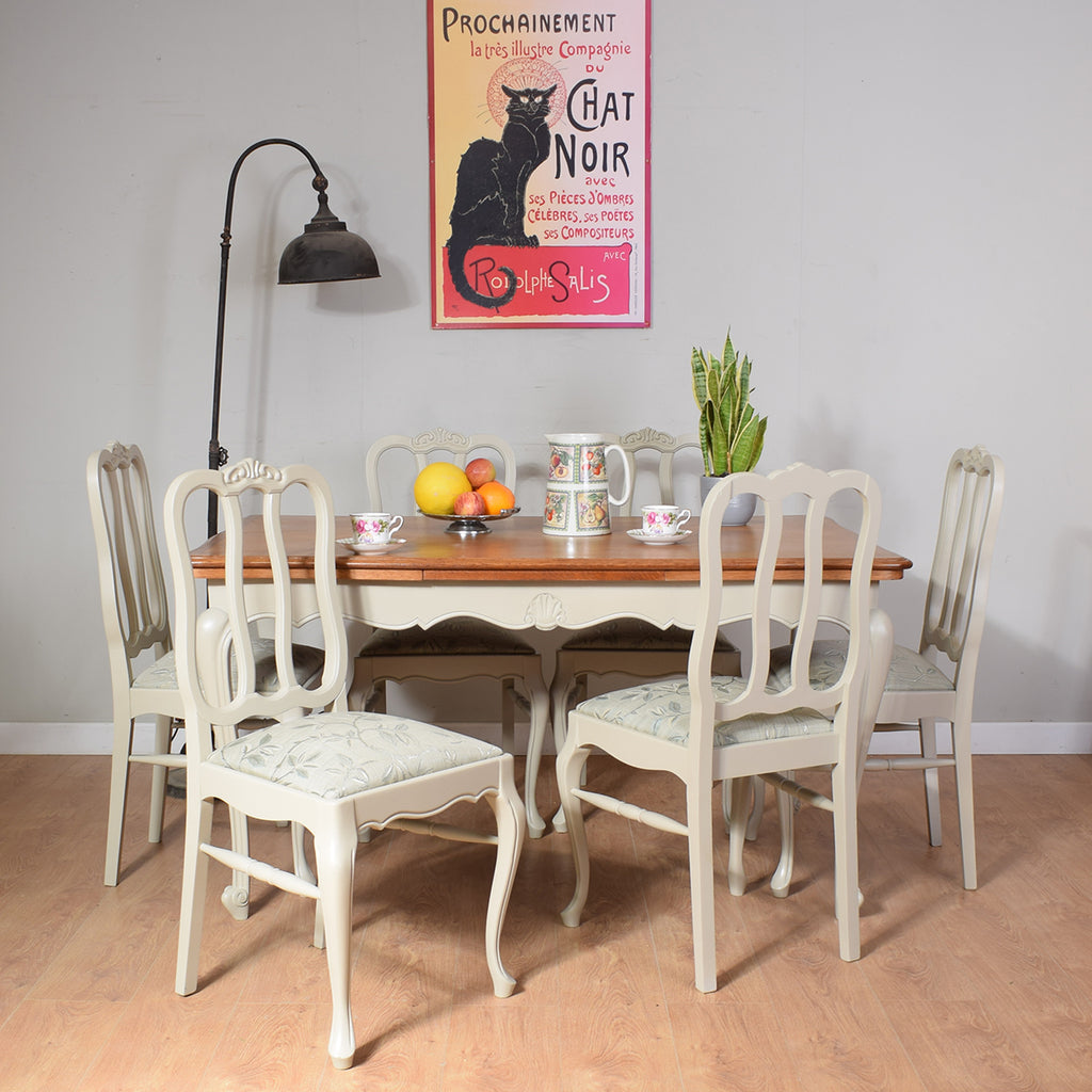 Painted French Table and Six Chairs