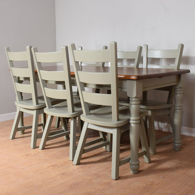 Painted Oak Table & 6 Chairs