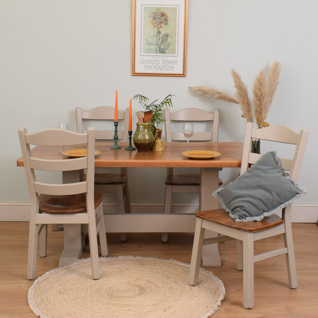 Painted Oak table and 4 chairs