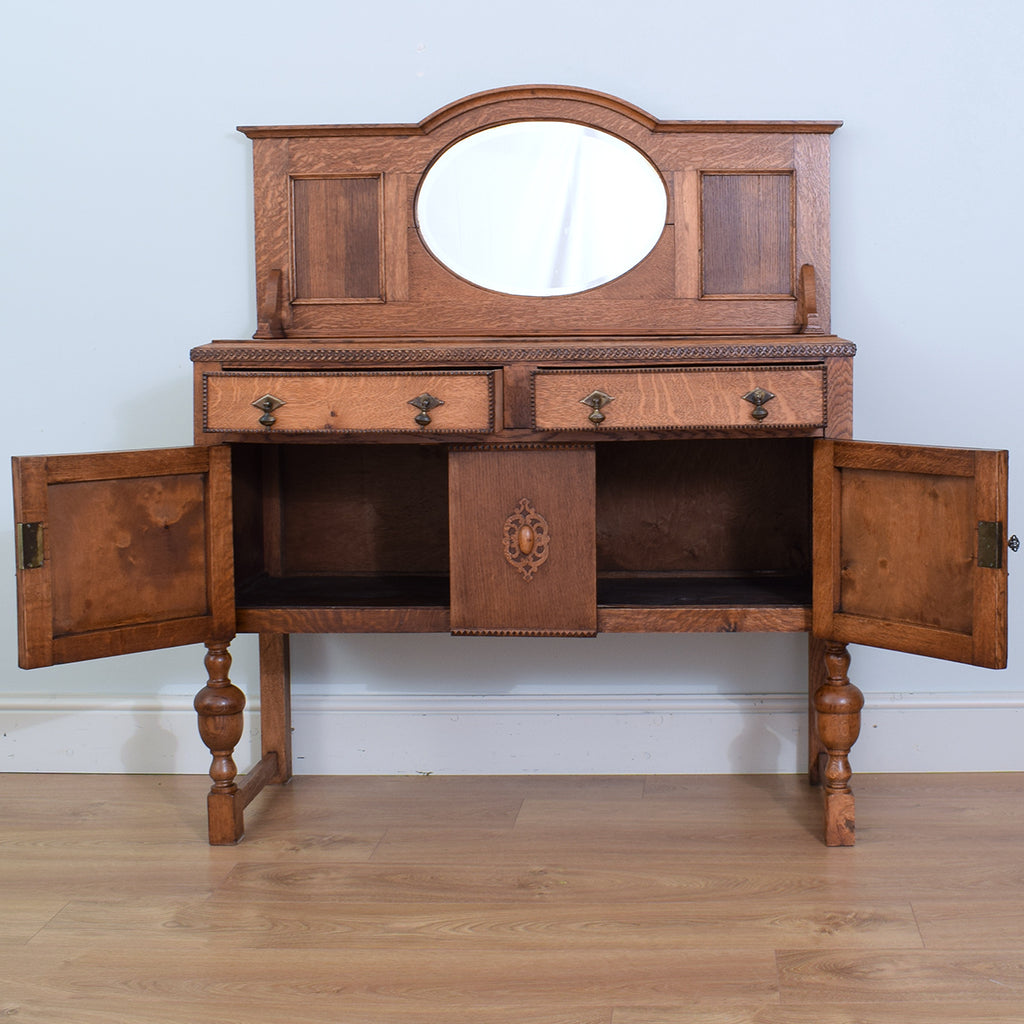 Mirrored Oak Sideboard