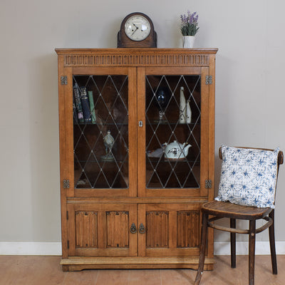 Rustic Oak Linen-Fold Display Cabinet / Glazed Bookcase