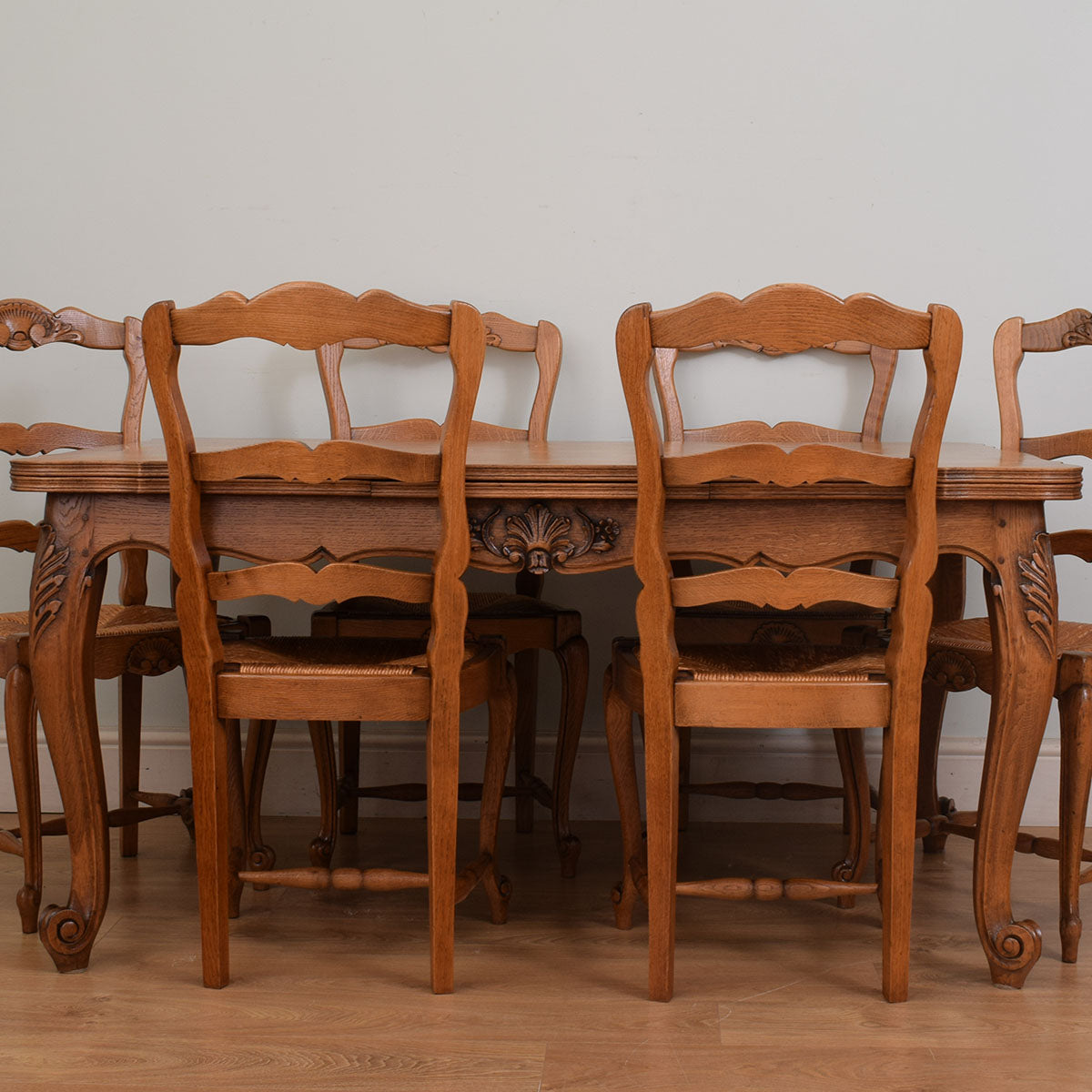 French Style Oak Table and Six chairs