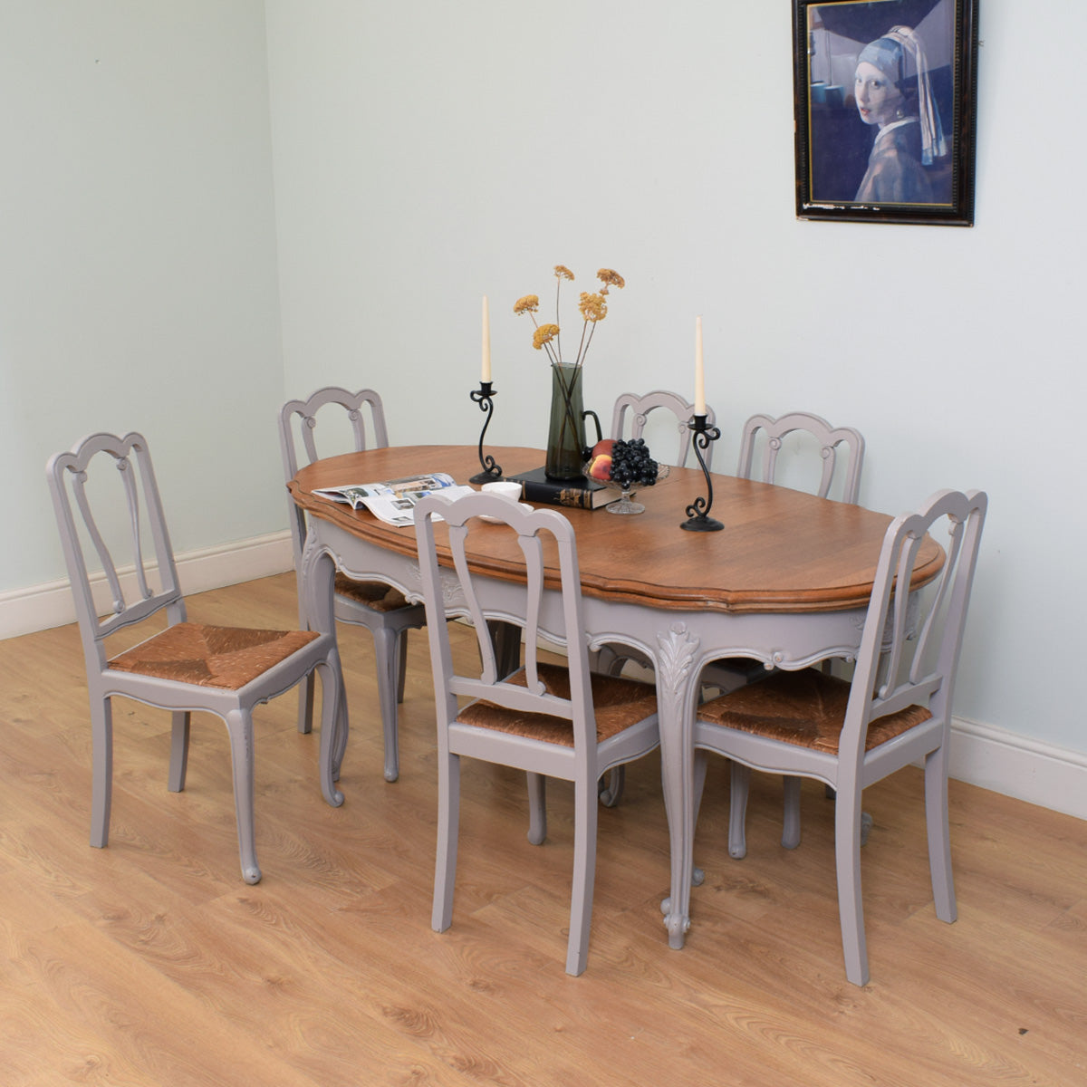 Painted French Oak Extendable Table & 6 Chairs