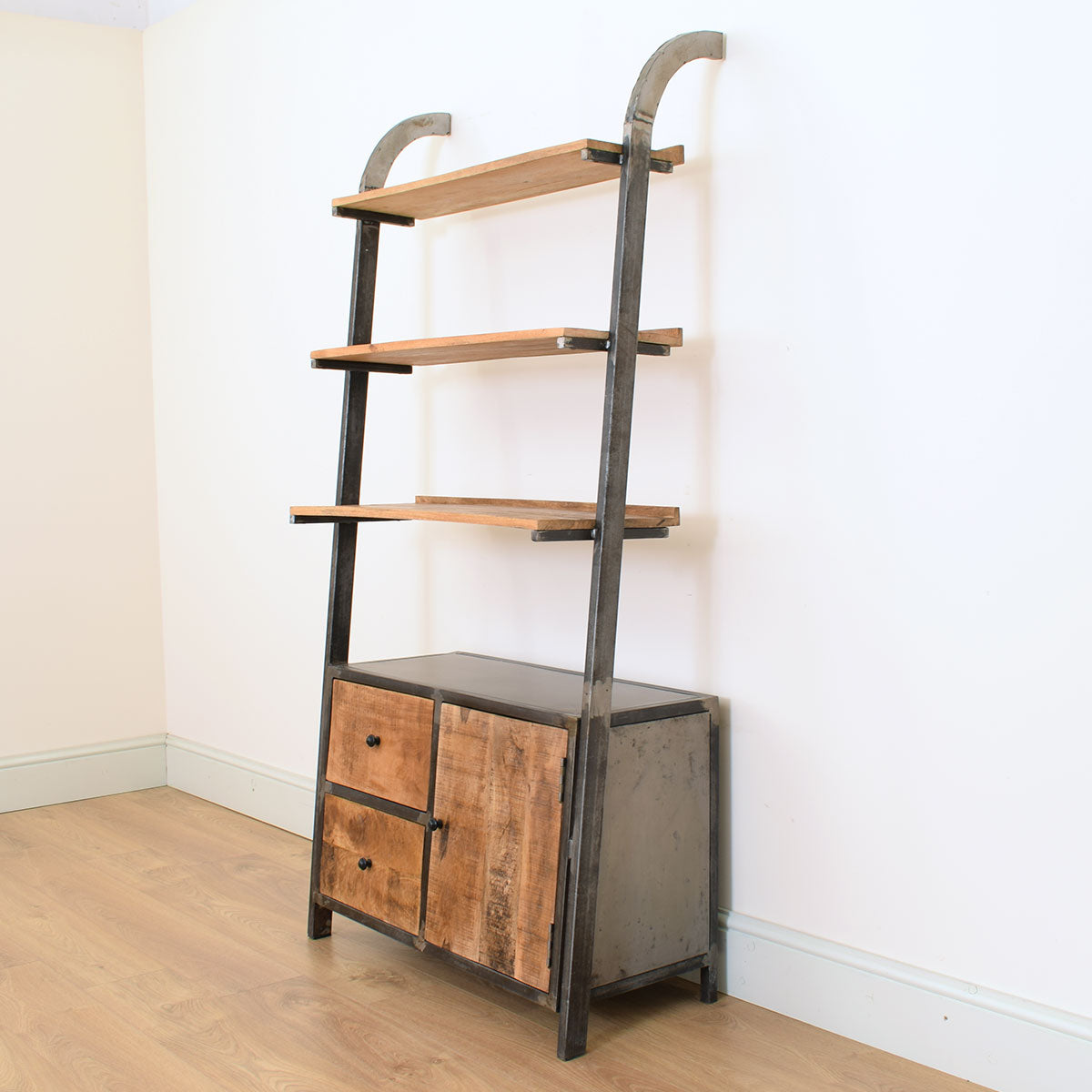 Mango Wood & Metal Industrial Style Bookshelf