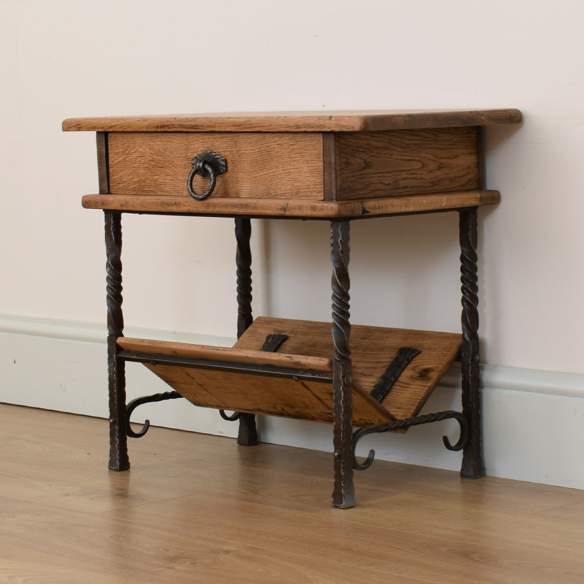 Rustic Oak & Iron Magazine Rack / Side Table