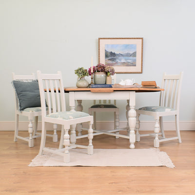 Painted Draw-leaf table & 4