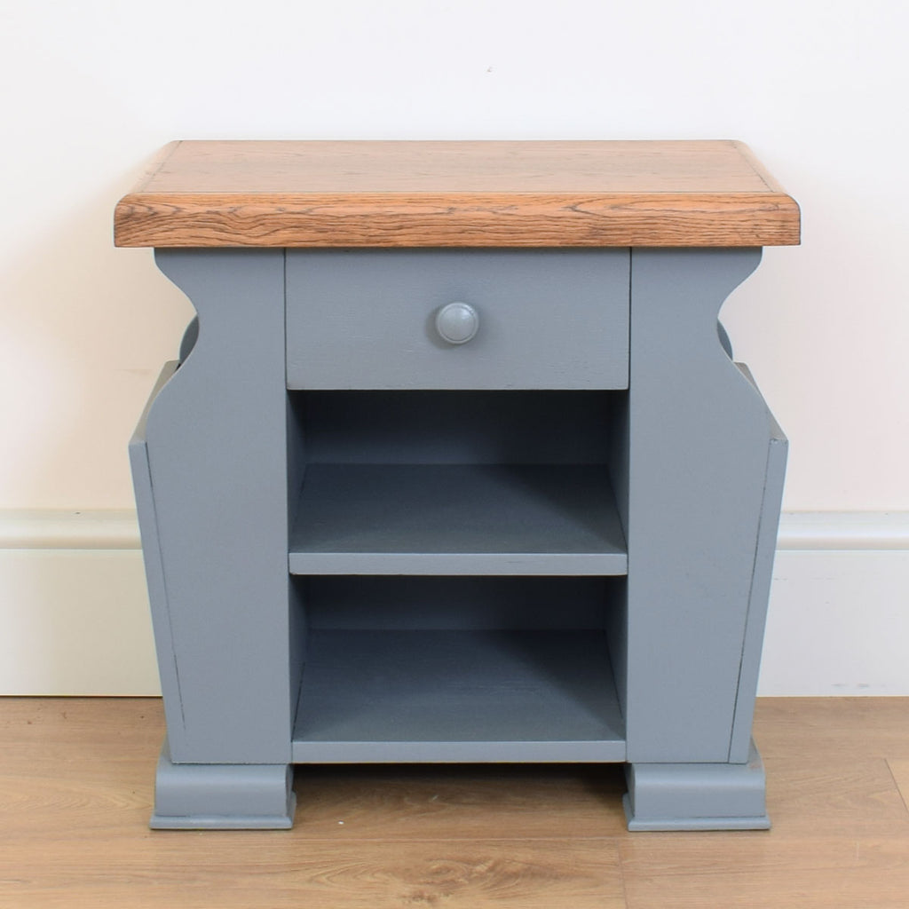Painted Oak Side Table / Magazine Rack