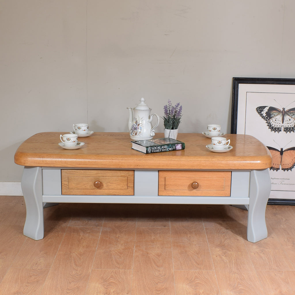 Solid Oak Two-Tone Coffee Table